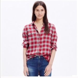 Madewell Fairfax plaid ex boyfriend button down XS